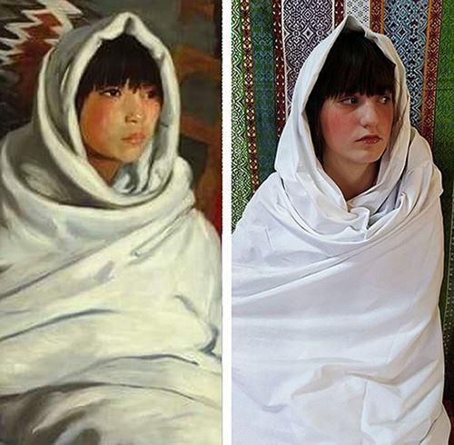 Αναπαράσταση έργου του R.Henri Ινδιάνα με λευκή κουβέρτα