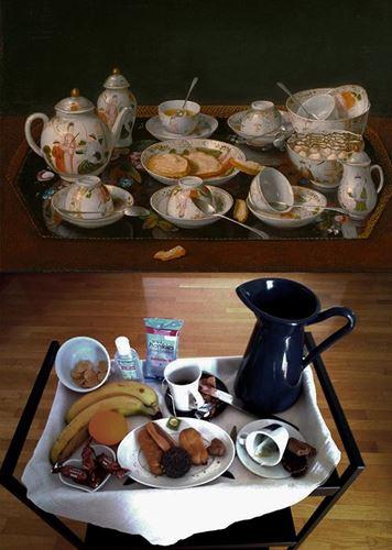 Αναπαράσταση του έργου του Jean Etienne Liotard, Νεκρή φύση με σερβίτσιο για τσάι
