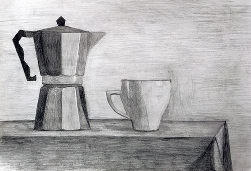 Σπουδή εκ του φυσικού με καφετιέρα