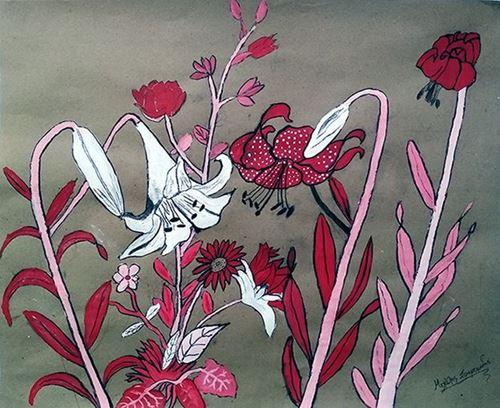 Λουλούδια, άσκηση με ένα χρώμα, άσπρο και κάρβουνο